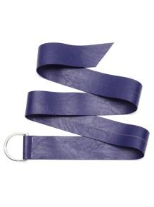 Dark Blue Faux Leather Wide Belt