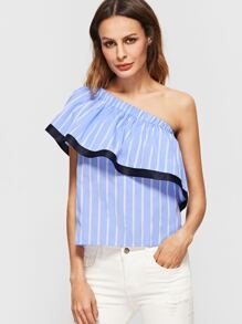 Blue And White Striped Contrast Trim One Shoulder Ruffle Top
