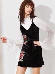 Black Embroidered Flower Applique Velvet Cami Dress With Belt