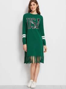 Green Varsity Print Raw Fringe Hem Sweatshirt Dress