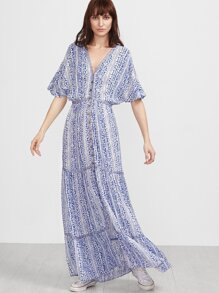 Blue Vintage Print Button Up Batwing Dress With Embroidered Tape Detail