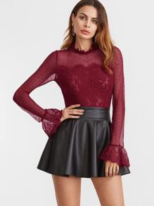 Burgundy Fungus Collar Keyhole Back Lace Trim Top