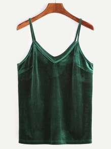 Green Velvet Cami Top