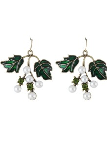 Green  Color Pearl Leaf Shape Earrings