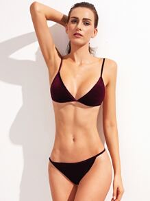Burgundy Triangle Velvet Bikini Set