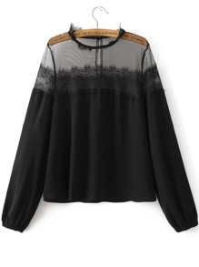 Black Eyelash Lace Trim Mesh Detail Blouse