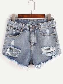 Blue Ripped Bleached Raw Hem Denim Shorts
