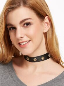 Black Eyelet Embellished PU Leather Wide Choker