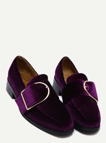 Purple Buckled Strap Velvet Low Heel Pumps