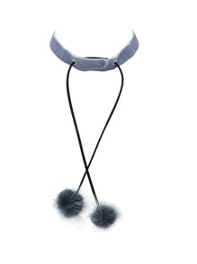 Gary  Velvet Choker with Fake Fur Balls