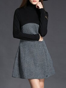 Black Contrast Grey A-Line Dress