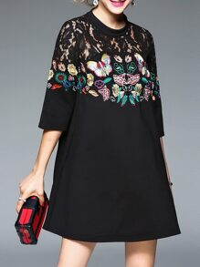 Black Sheer Butterfly Embroidered Shift Dress