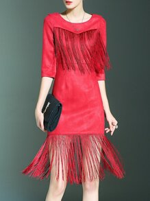 Red Contrast Fringe Sheath Dress