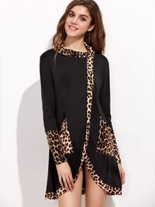 Contrast Leopard Print Trim High Low Dress