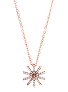 Rose Gold Faux Gem Inlaid Helm Pendant Necklace