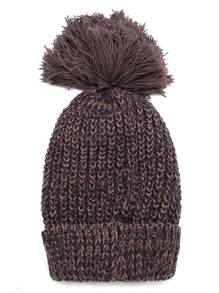 Brown Ribbed Knit Hat with Pom