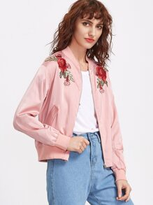 Pink Embroidered Rose Applique Zip Up Bomber Jacket