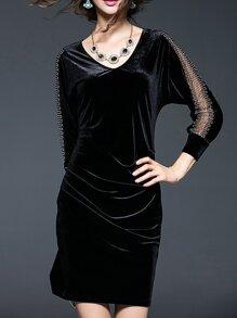 Black V Neck Mesh Velvet Dress