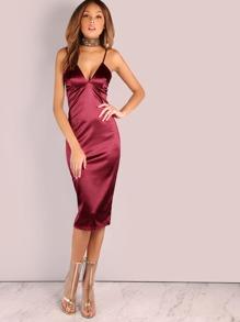 Deep V Satin Bodycon Midi Dress WINE