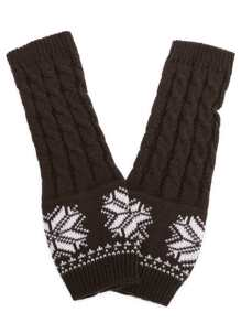 Coffee Snowflake Print Cable Knit Handwarmers