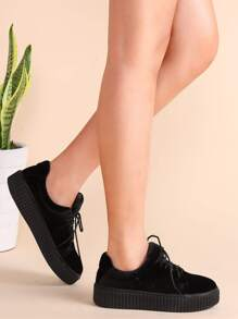 Black Lace Up Velvet Platform Shoes