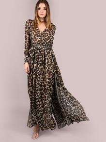 Leopard Print Wrap Chiffon Maxi Dress LEOPARD