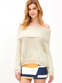 Beige Off The Shoulder Foldover Fuzzy Sweater