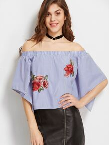 Blue Striped Overlap Back Off The Shoulder Top With Patch