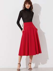 Red Wide Waistband Side Zip Box Pleated Midi Skirt