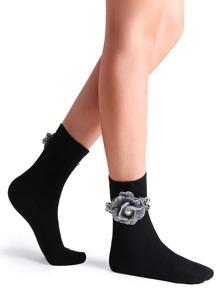 Black Camellia Embellished Plain Crew Sock