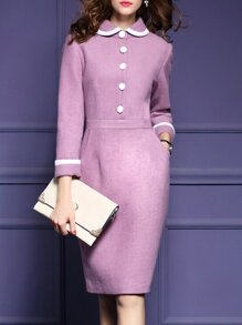 Purple Doll Collar Pockets Sheath Dress