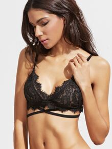 Black Cross Strap Eyelash Lace Bralet