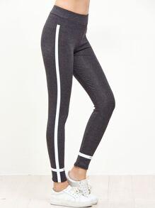 Dark Grey Striped Trim Leggings