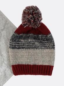 Multi Knit Striped Beanie BURGUNDY