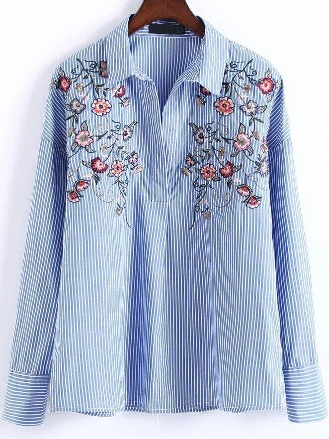 Блузки в полоску с вышивкой 23