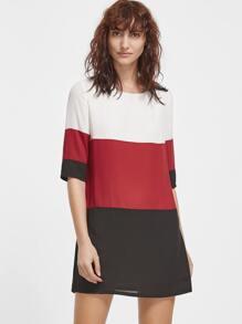 Color Block Half Sleeve Tunic Dress