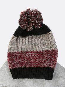 Striped Knit Pom Pom Beanie BLACK