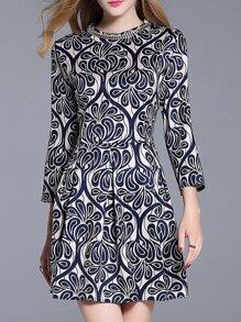 Navy Vintage Print A-Line Dress