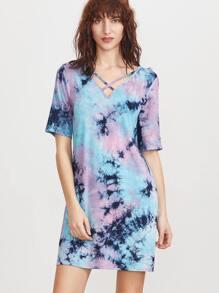 Multicolor Tie Dye Print Crisscross V Neck Tee Dress