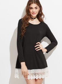 Black Contrast Lace Hem Tee Dress