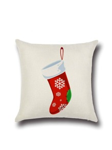 White Christmas Sock Pattern Pillowcase Cover