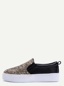 Black and Gold Glitter Sequin Rubber Sole Slip-on Sneakers