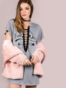 Grey Varsity Print Lace Up V Neck Tee Dress