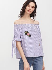Blue Striped Off The Shoulder Tie Sleeve Top With Patch