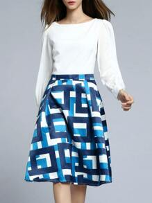 White Contrast Blue A-Line Dress