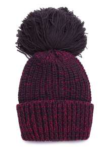 Burgundy Cable Knit Beanie Hat with Pom