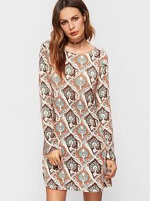 Multicolor Geometric Print Round Neck Shift Dress