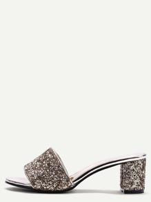 Gold Glitter Sequin Peep Toe Heeled Sandals