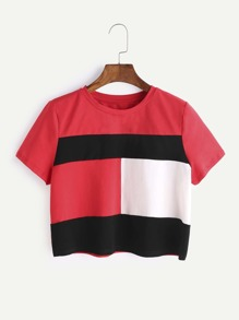 Color Block Short Sleeve Crop T-shirt
