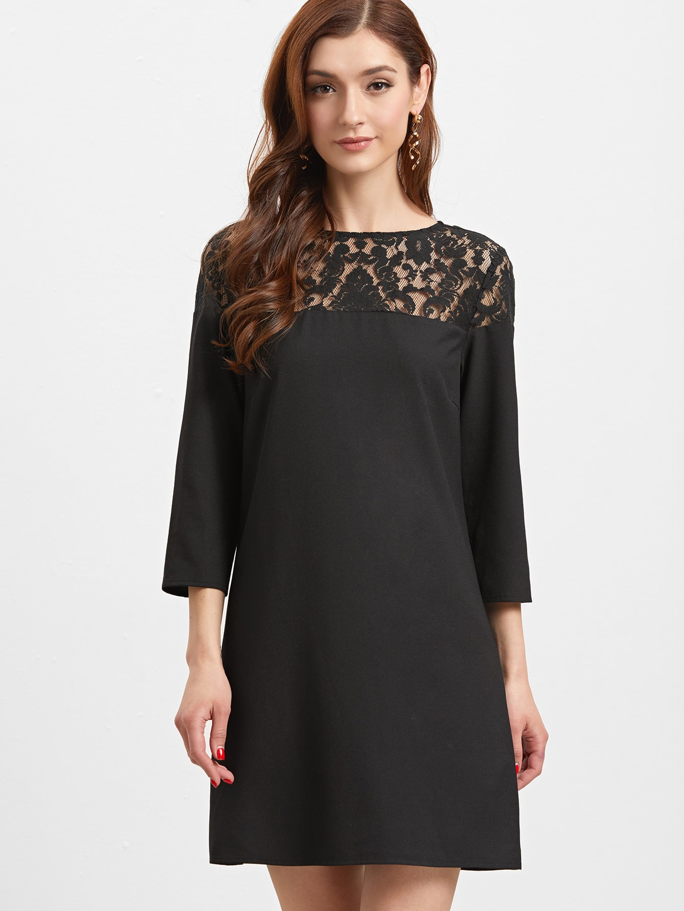 Black Sheer Floral Lace Yoke Buttoned Keyhole Tunic Dress ...